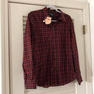 Chaps brand red and green plaid shirt.